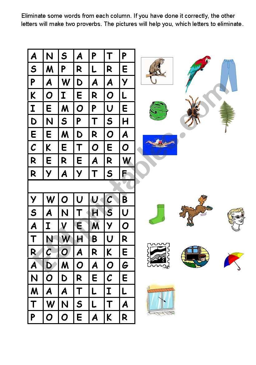 Puzzle game worksheet