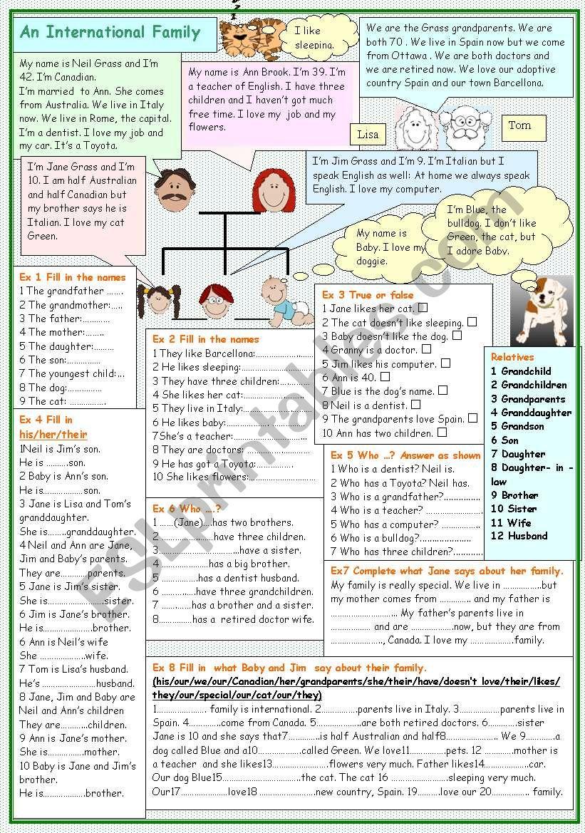 An International Family worksheet