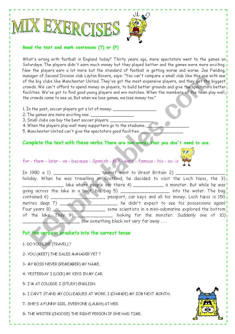 Mix exercises worksheet