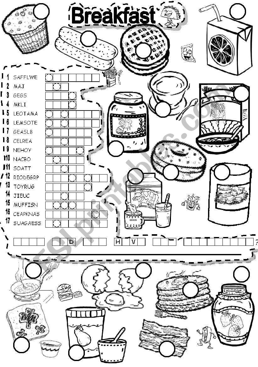 BREAKFAST PUZZLE worksheet