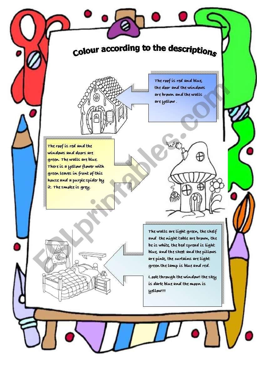 colour by descriptions: houses