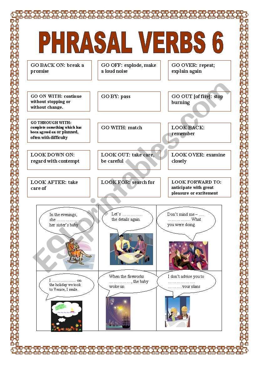 PHRASAL VERBS 6 worksheet