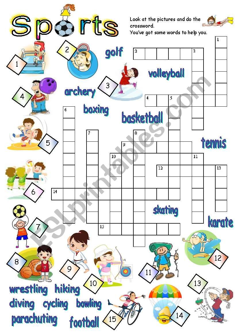 graphic about Sports Crossword Puzzles Printable called Sports activities CROSSWORD - ESL worksheet by way of jecika