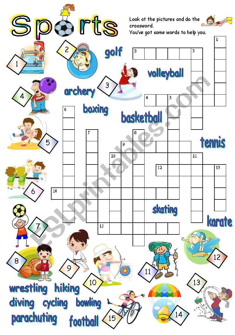 Sports Crossword Esl Worksheet By Jecika