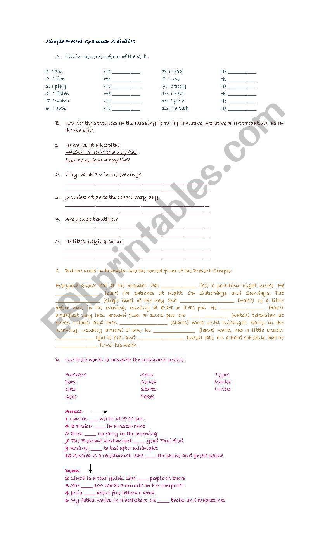 Present Simple Grammar Activities
