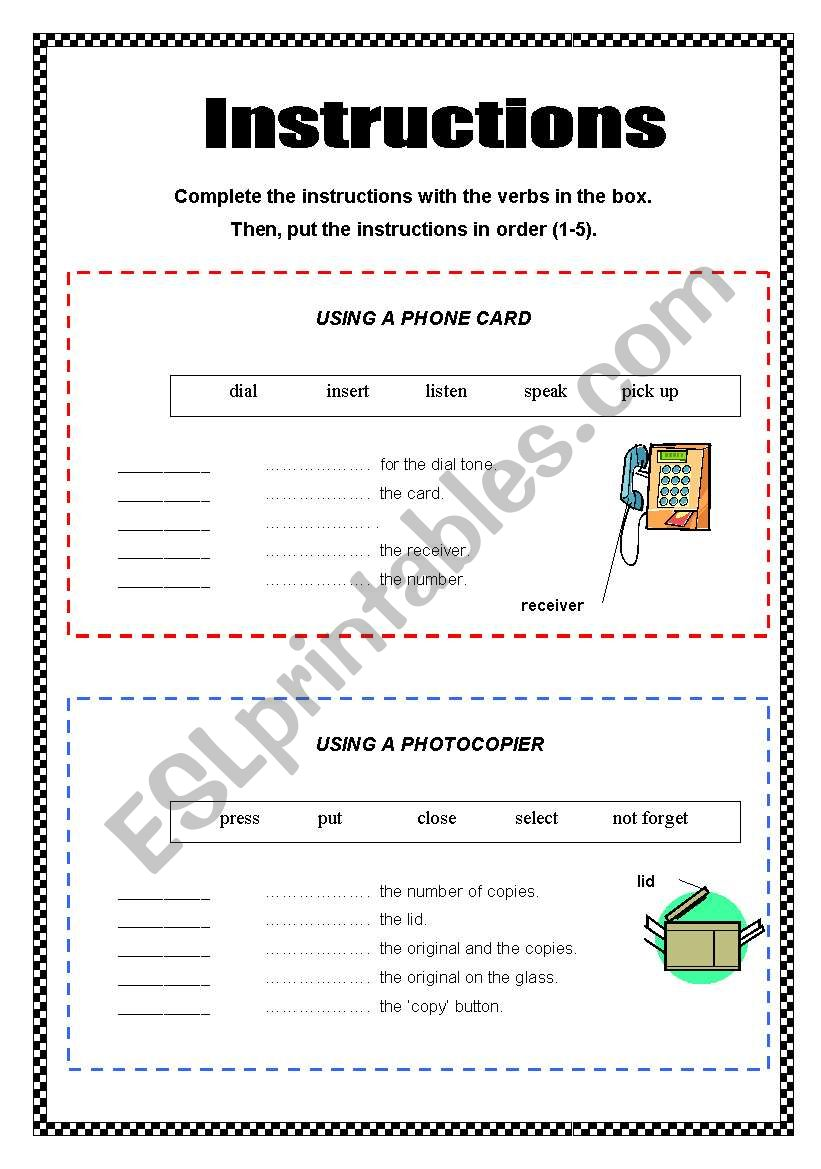 Instructions - 2 pages + key worksheet