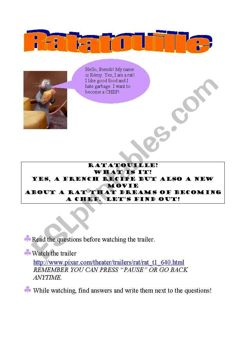 Ratatouille worksheet