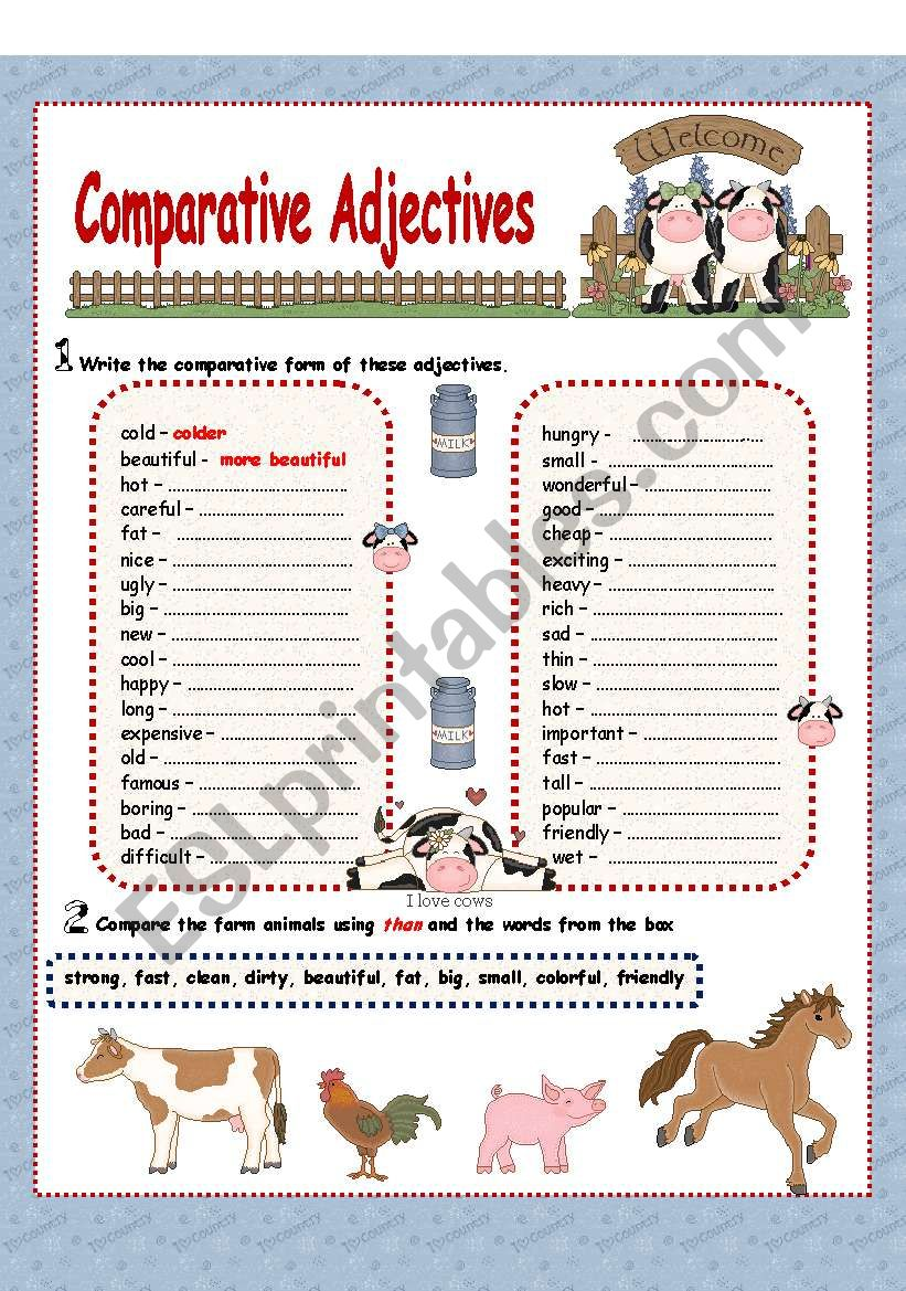 Comparative Adjectives( 2 pages)