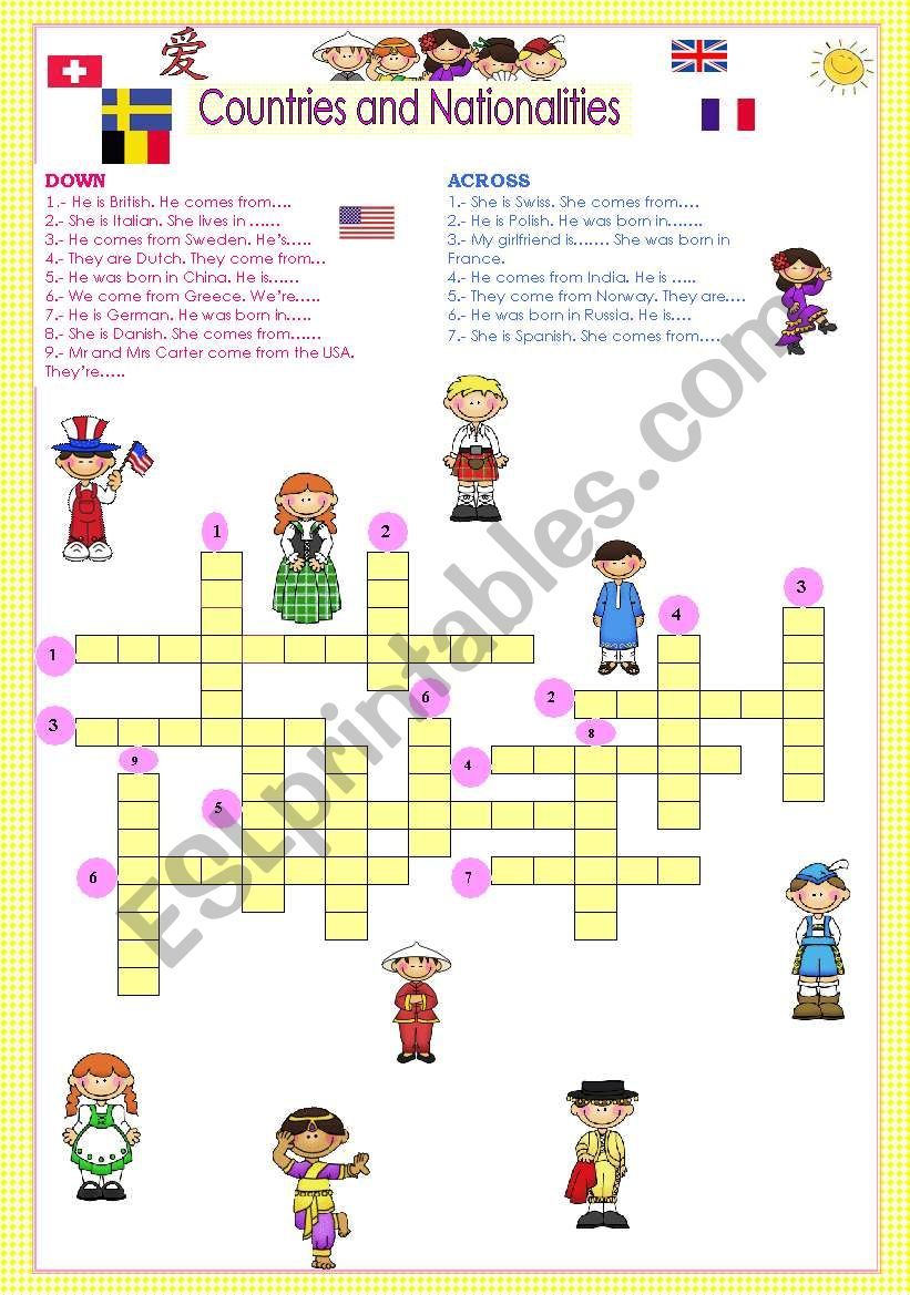 COUNTRIES AND NATIONALITIES CROSSWORD