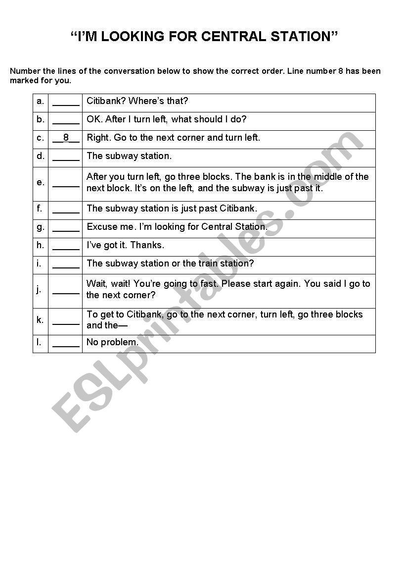 English worksheets: Rearranging conversation sentences
