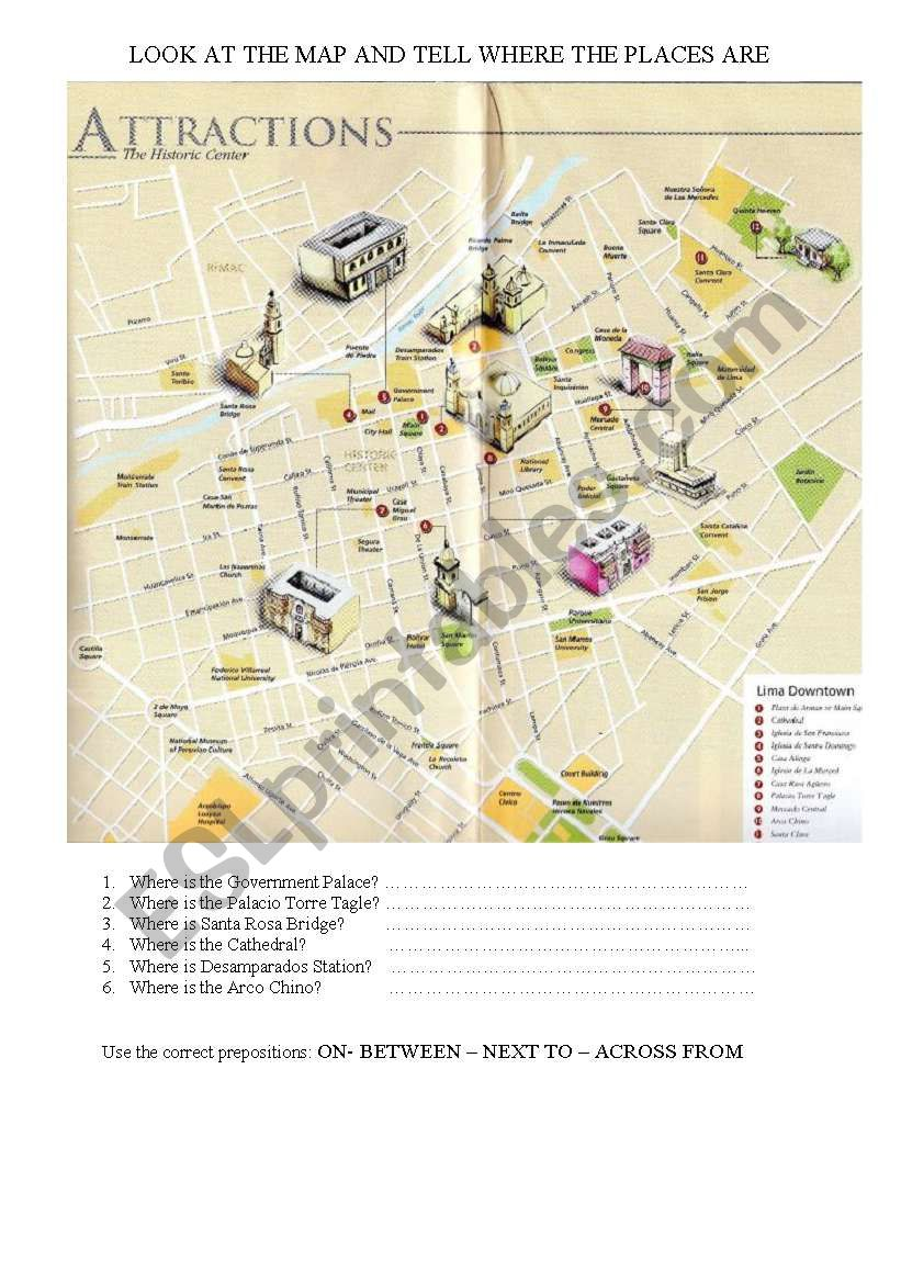 WHERE IS THE MAIN SQUARE? worksheet