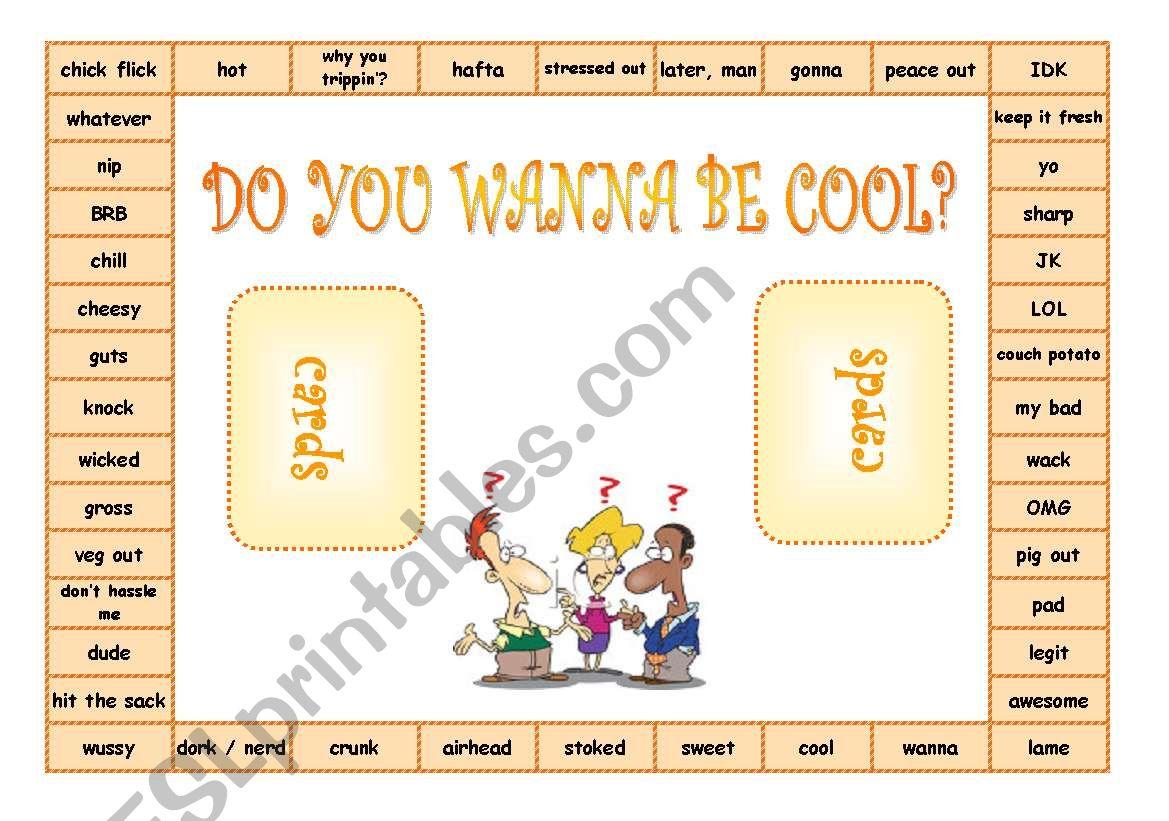 Teen slang GAMES - boardgame, FC, dominoes, bookmark, crossword ((10 PAGES)) EDITABLE, printer friendly + KEY