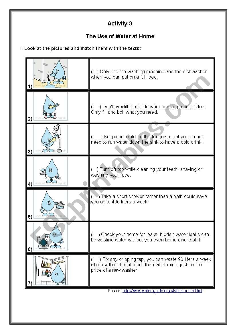 The Use of Water at Home worksheet