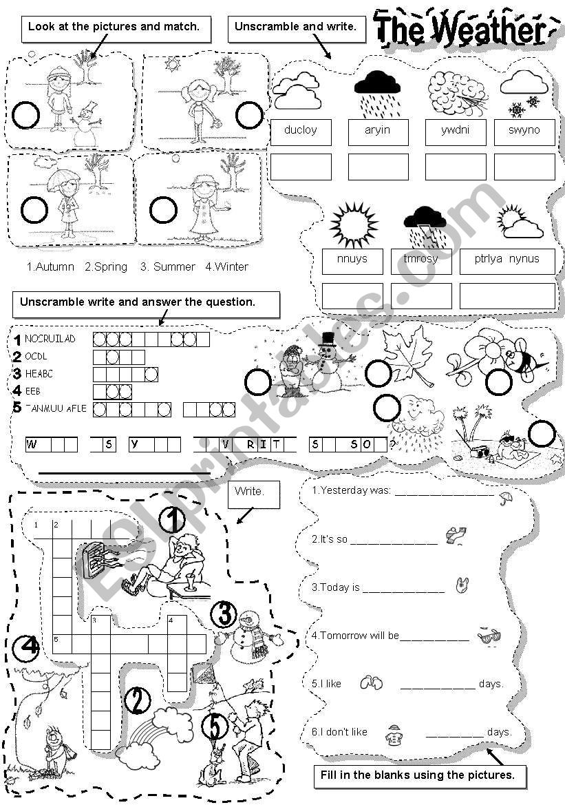 WEATHER ACTIVITIES worksheet