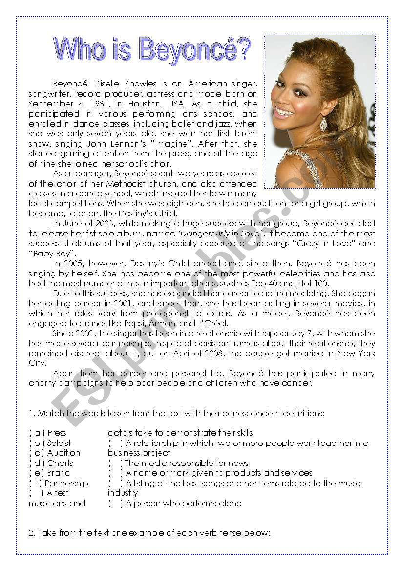 Who is Beyoncé? worksheet