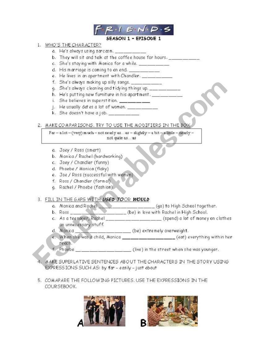 Friends - tv series - Season 1 - Episode 1 - ESL worksheet