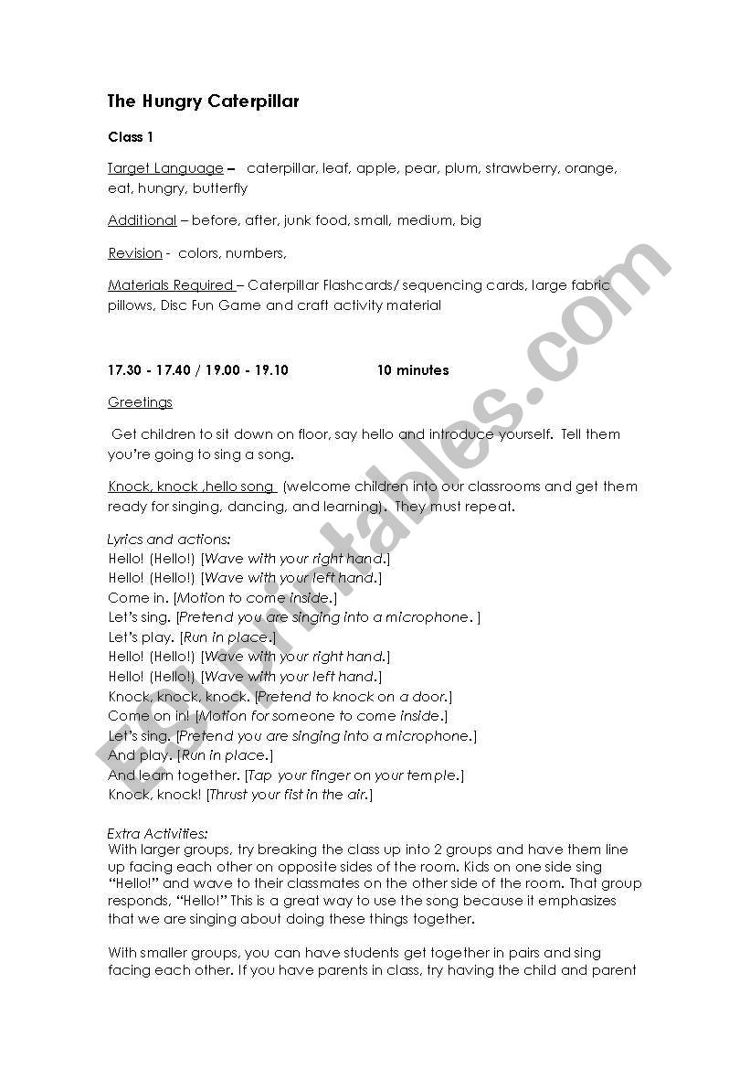 The Very Hungry Caterpillar Lesson Plan 1 - ESL worksheet by