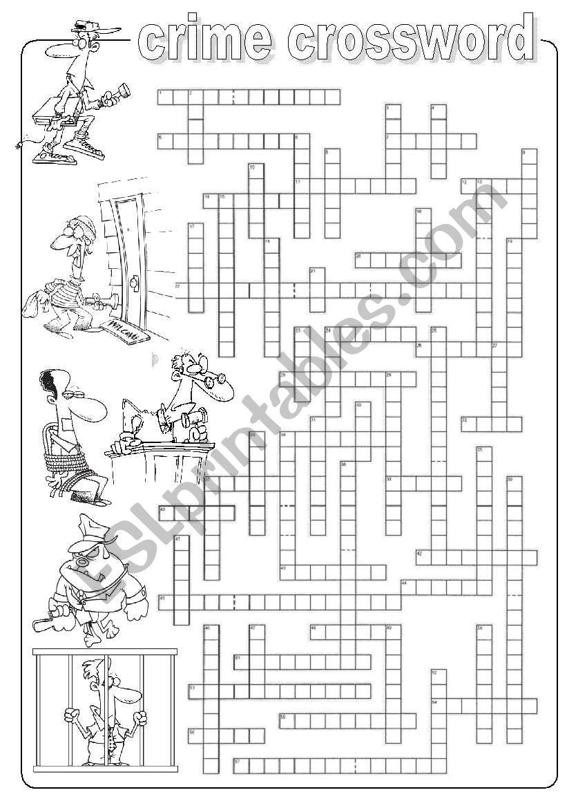 Crime crossword worksheet