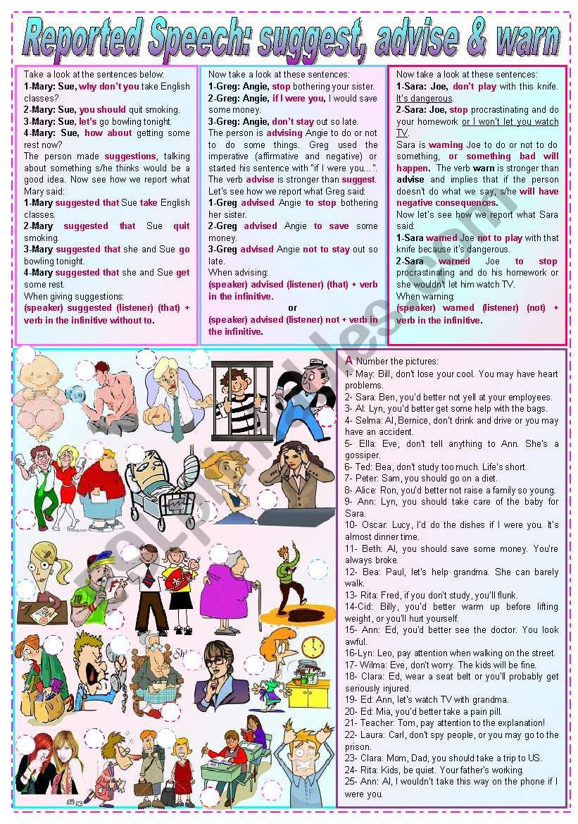 Reported Speech: suggest, advise & warn (grammar guide + exercises) - keys included - fully editable