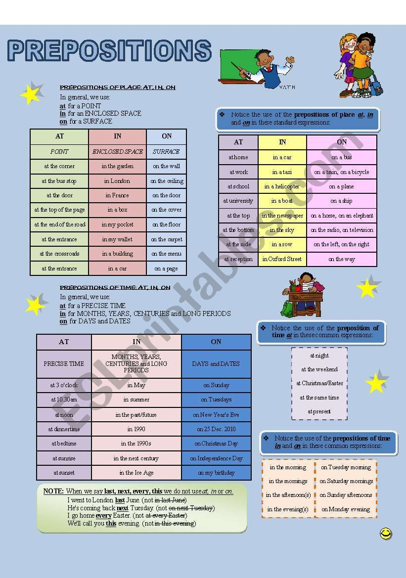 PREPOSITIONS - AT, IN, ON (place and time)