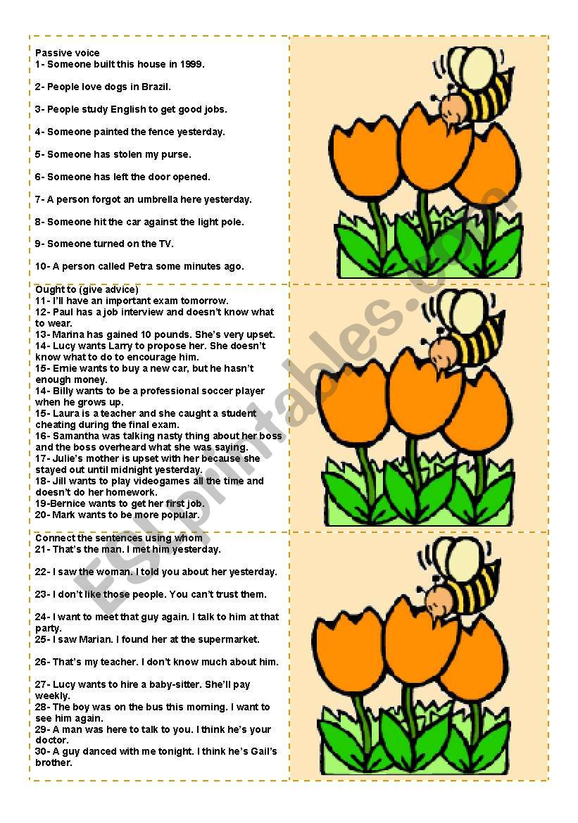 Bee Cards (to be used with the Bee Boardgame) - 100 questions for advanced ss (fully editable)
