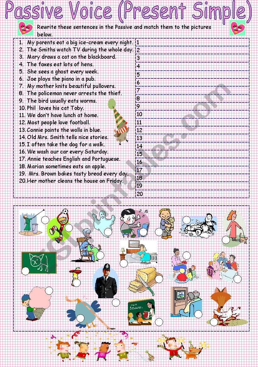 Passive voice Present Simple worksheet