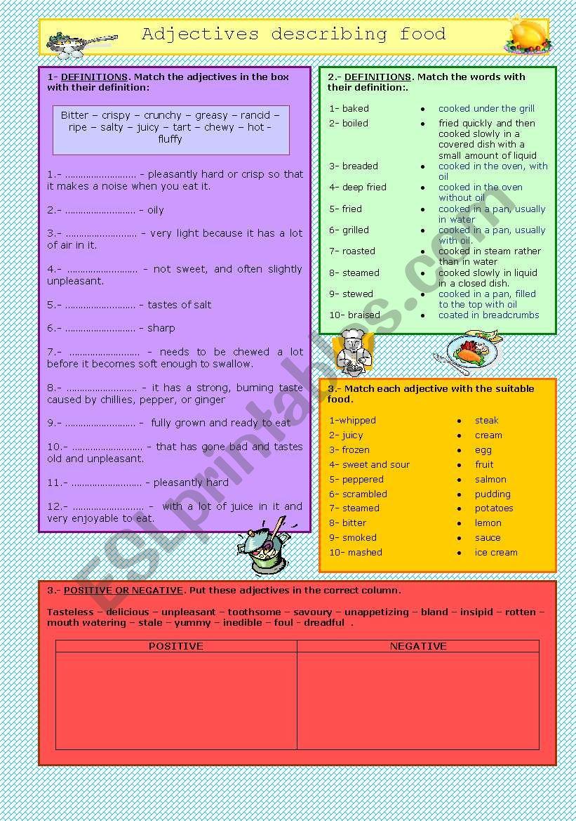 Adjectives describing food worksheet