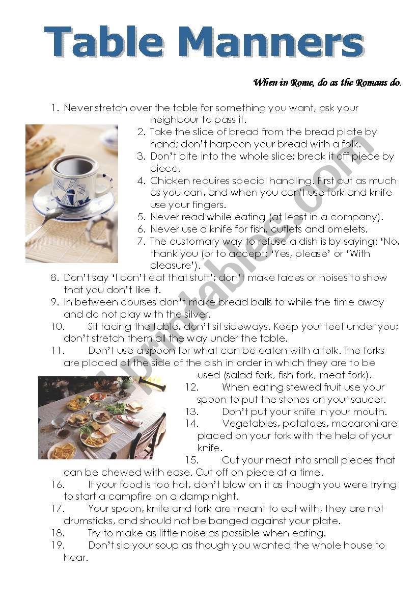 Table Manners Esl Worksheet By Yanishka