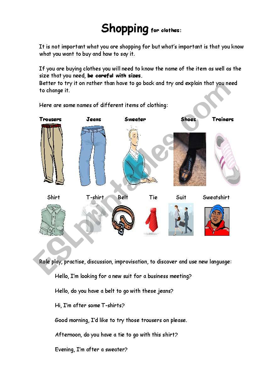 Shopping for clothes worksheet