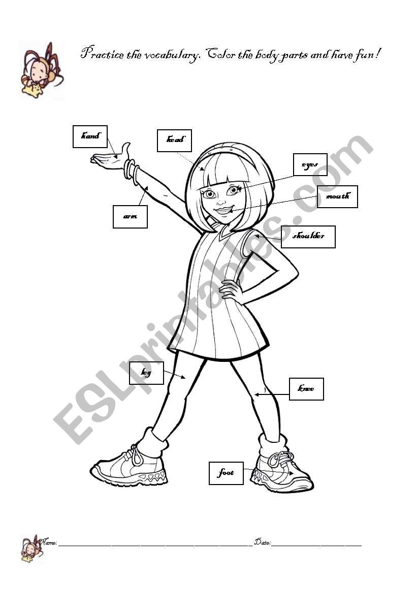 girl body parts coloring page