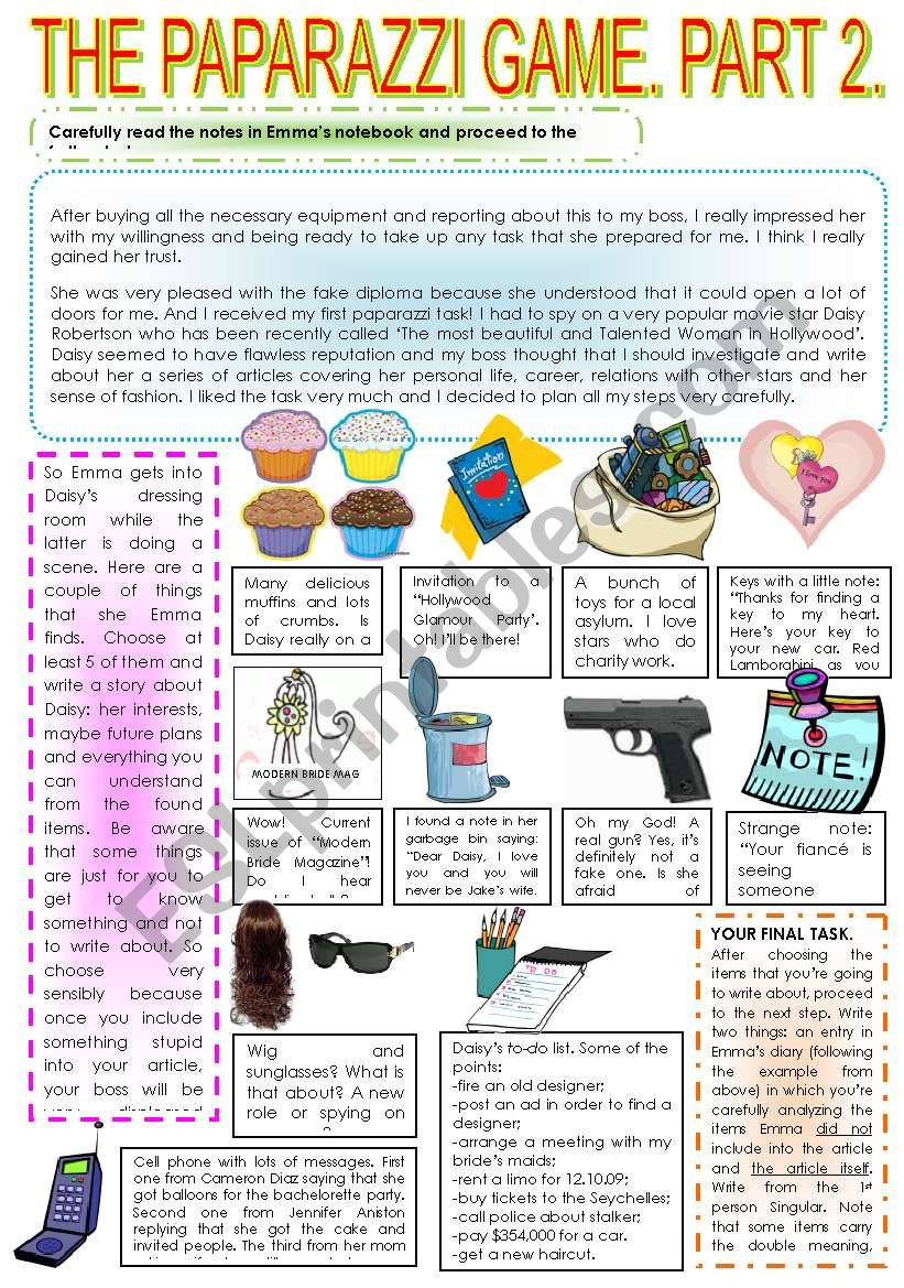 THE PAPARAZZI GAME. PART 2.  worksheet