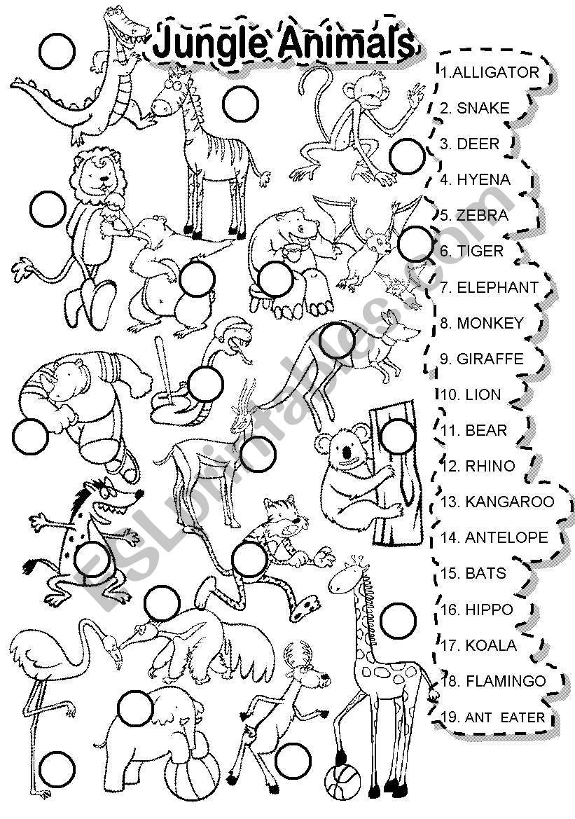 Jungle Animals Match Esl Worksheet By Im Lety