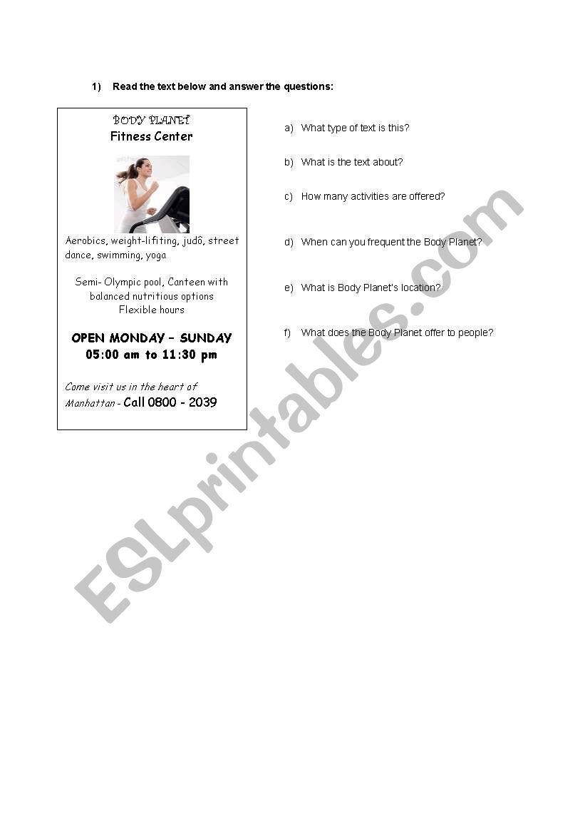 Fitness Center (Advesiment) worksheet