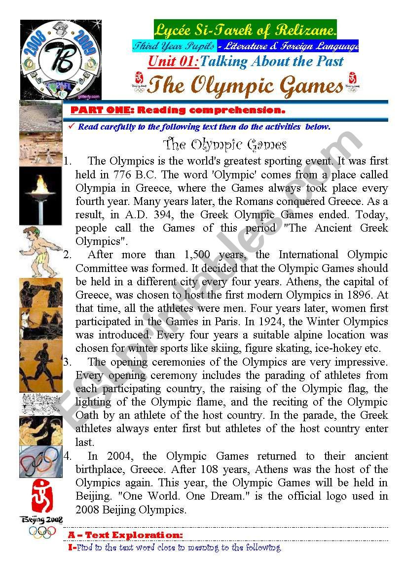 Talking About The Past. The Olympic Games. (Author-Bouabdellah) 03-08-2009
