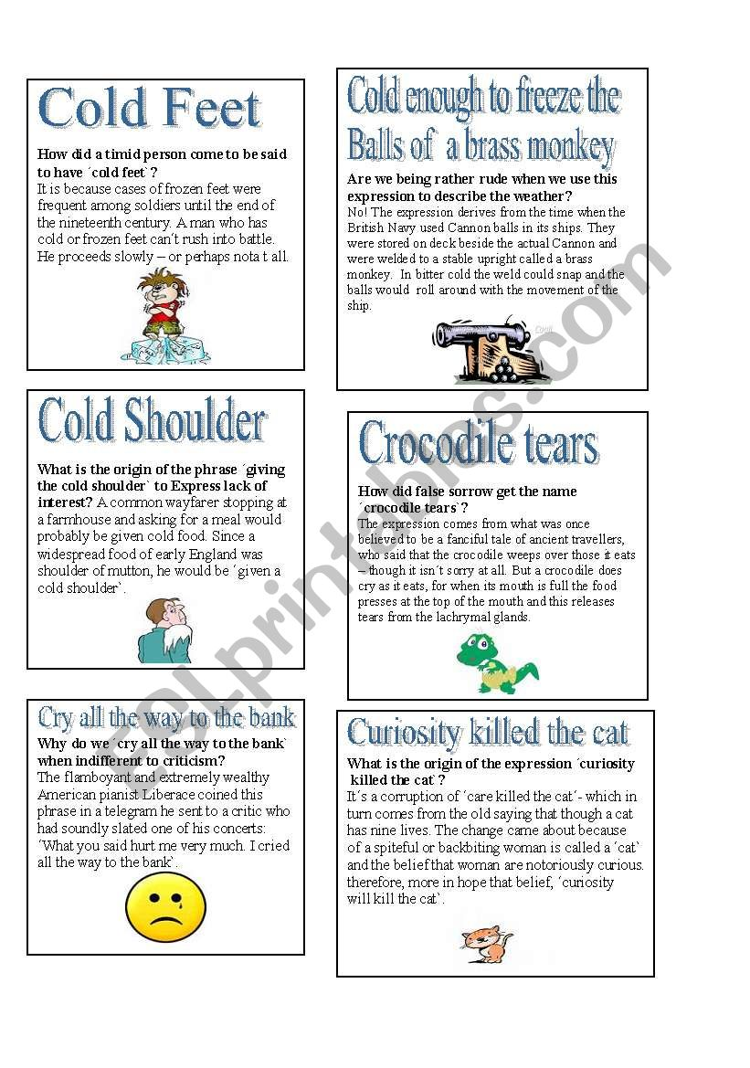 English Idioms - C worksheet