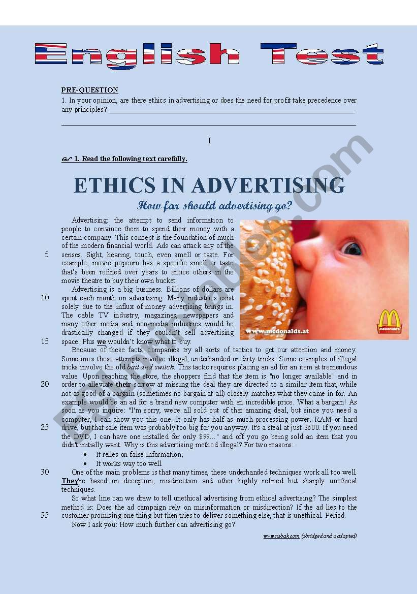 TEST - ETHICS IN ADVERTISING (HOW FAR WOULD YOU GO?)