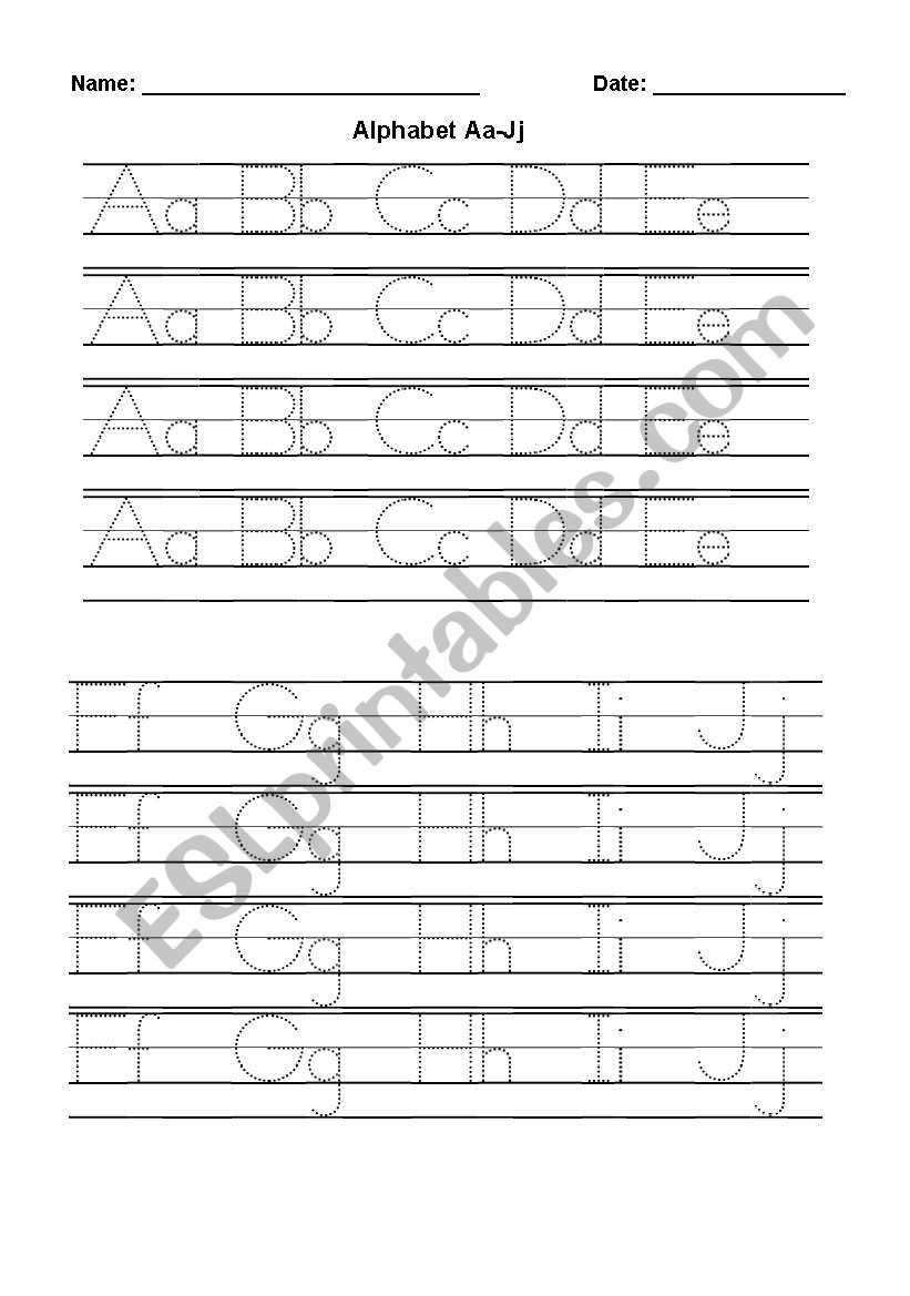 Alphabet handwriting worksheet