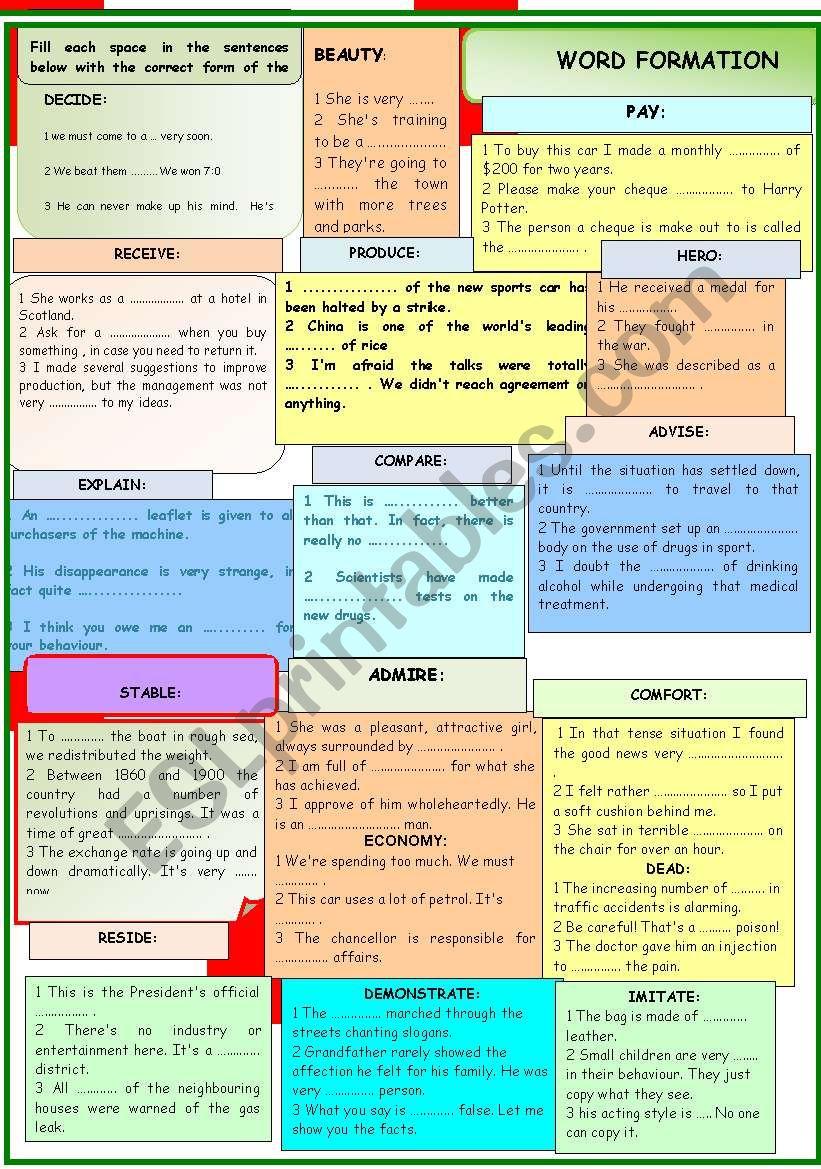 WORD FORMATION worksheet