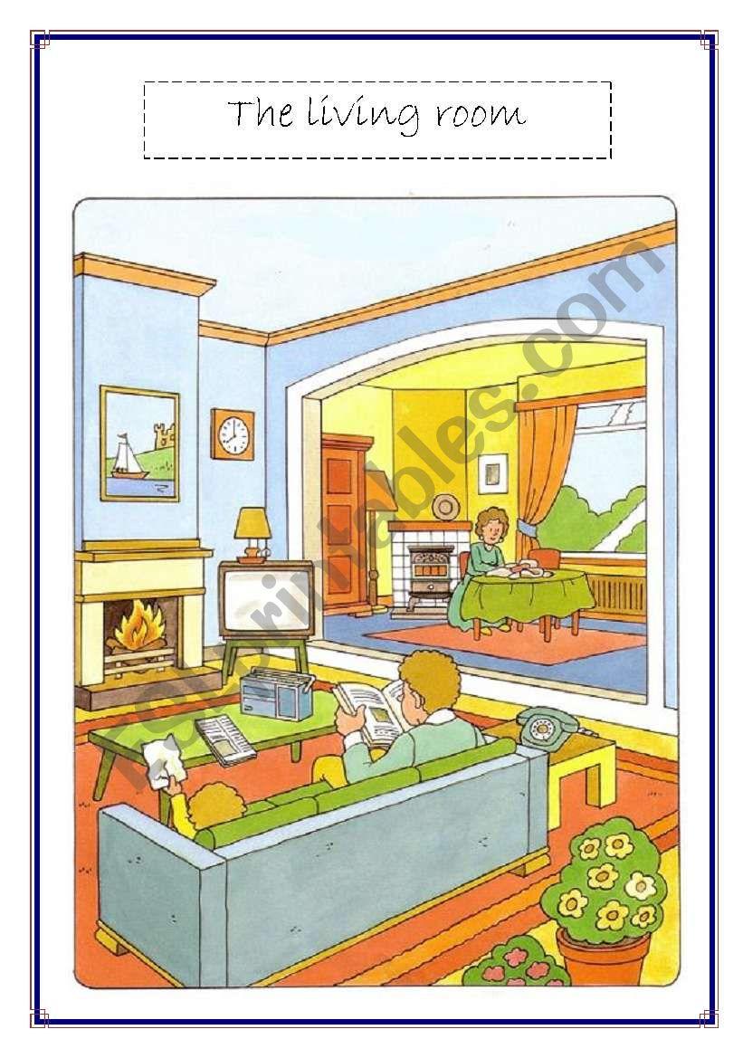 living room voc list worksheet