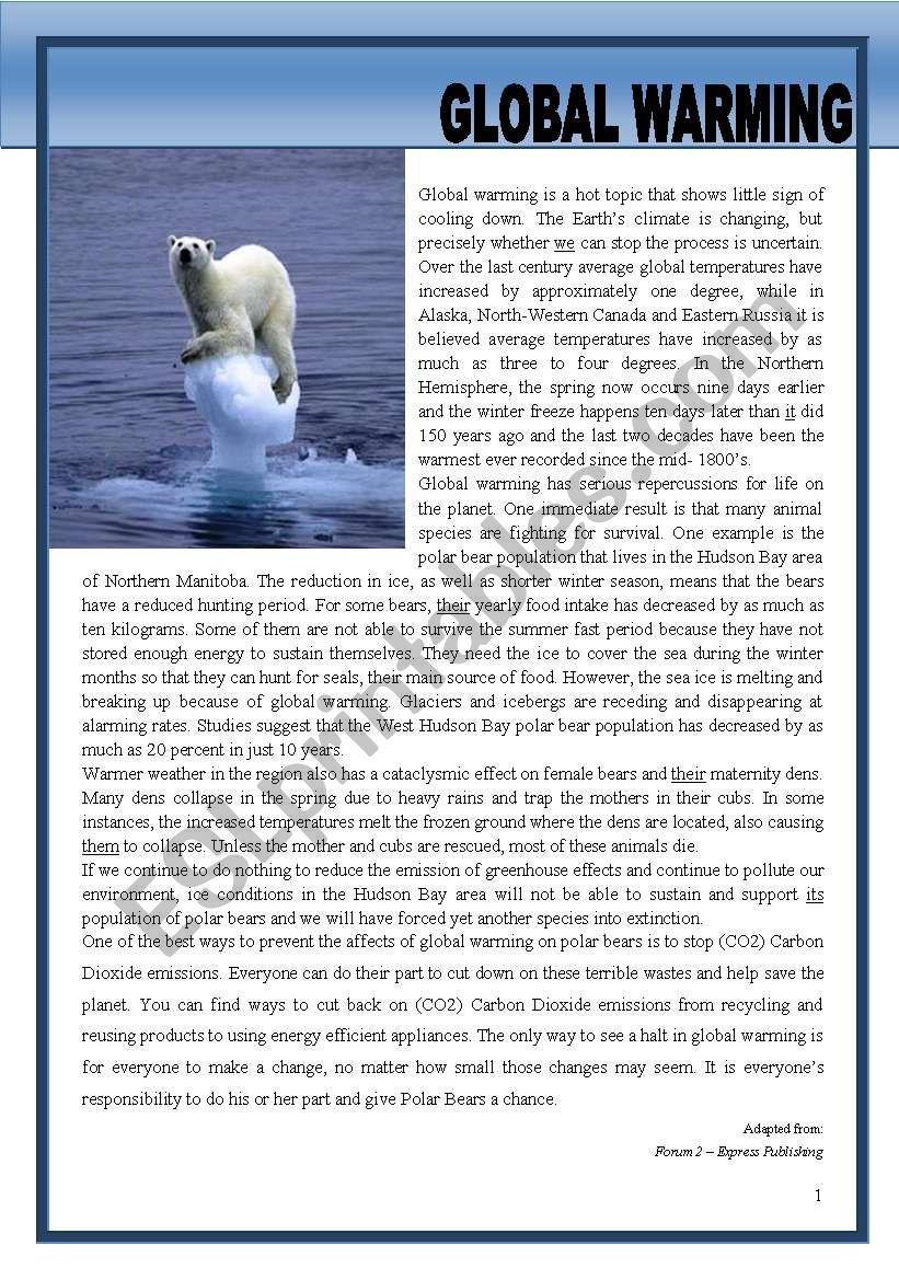 Global Warming Esl Worksheet By Morganalin