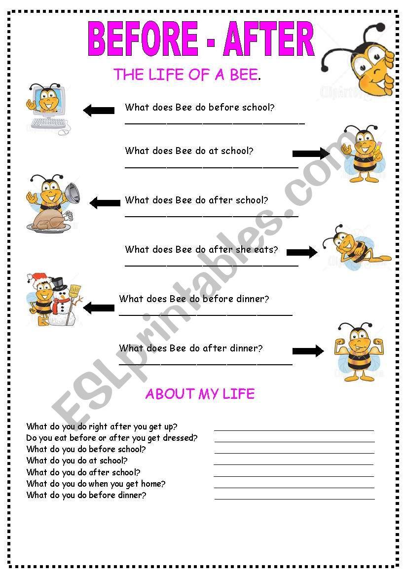 before _ after worksheet