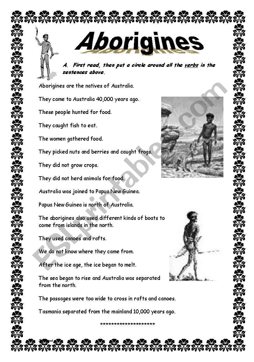 Aboriginal Worksheets Free Printables