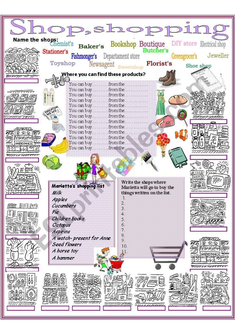 Shop, shopping  worksheet