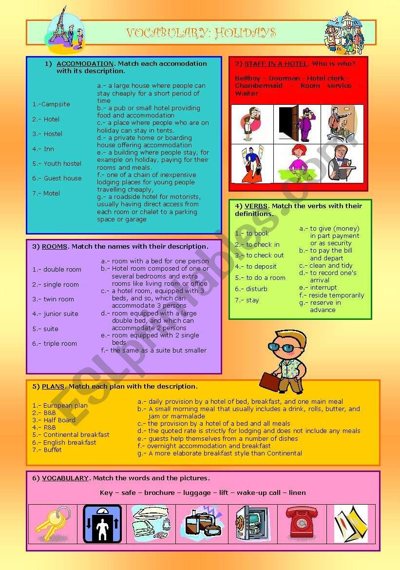 VOCABULARY: HOLIDAYS worksheet