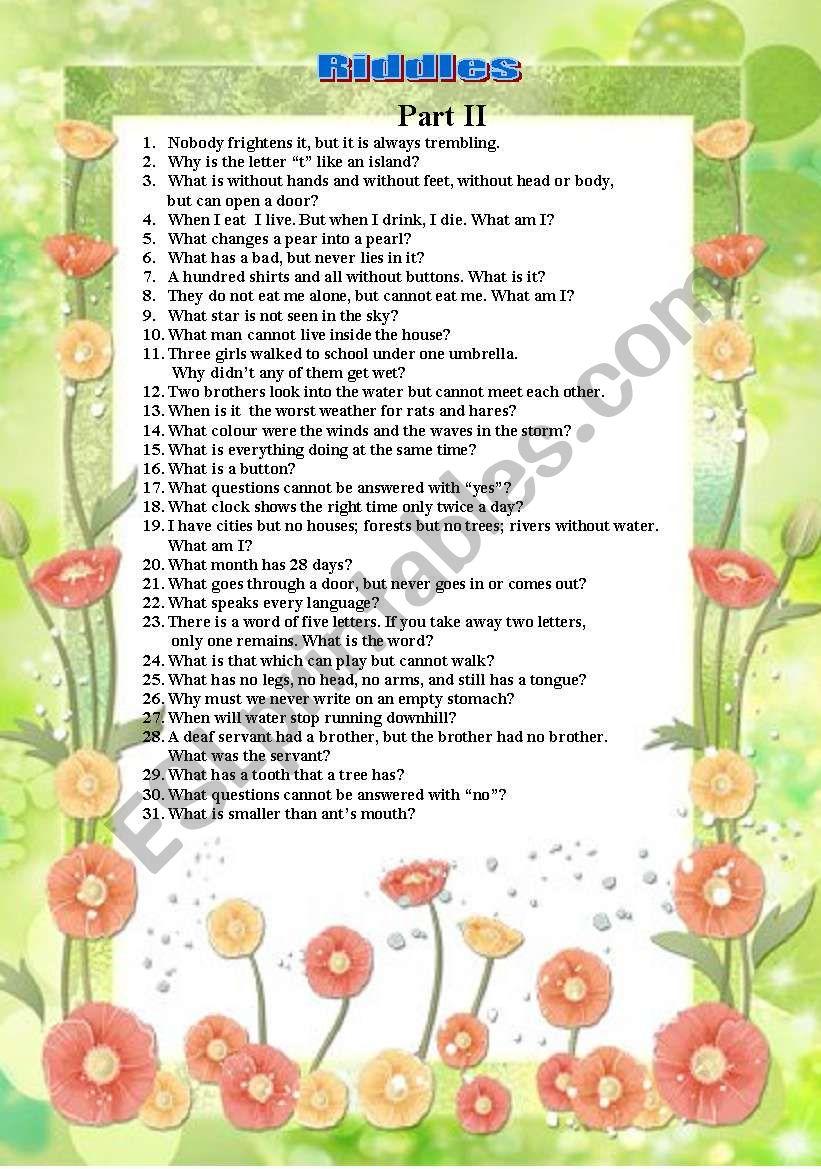 Riddles worksheet