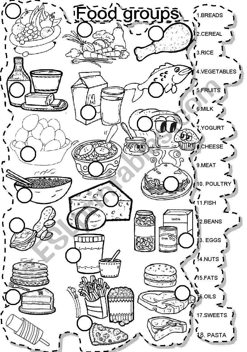 FOOD GROUPS MATCH  worksheet