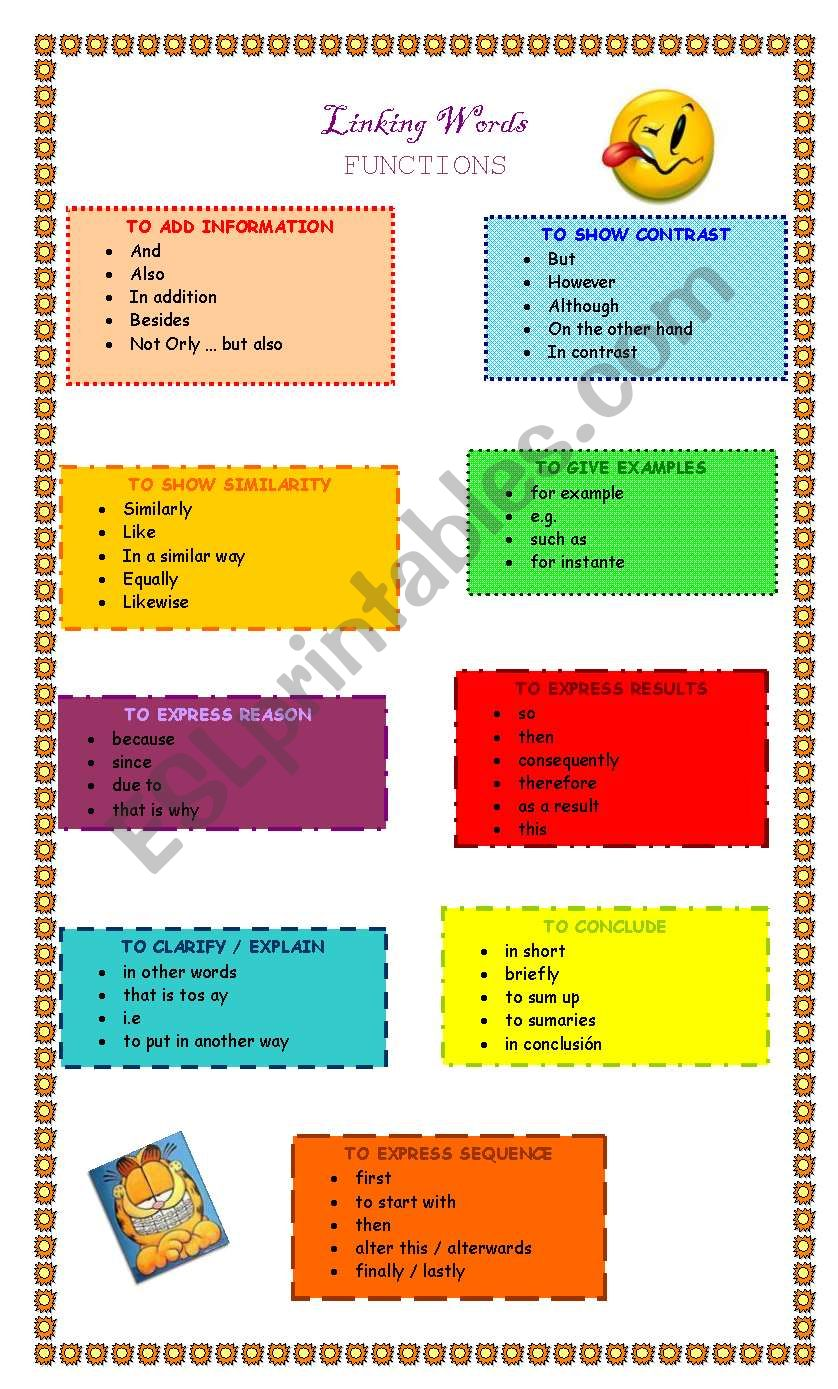 Linking Words Classification and exercises
