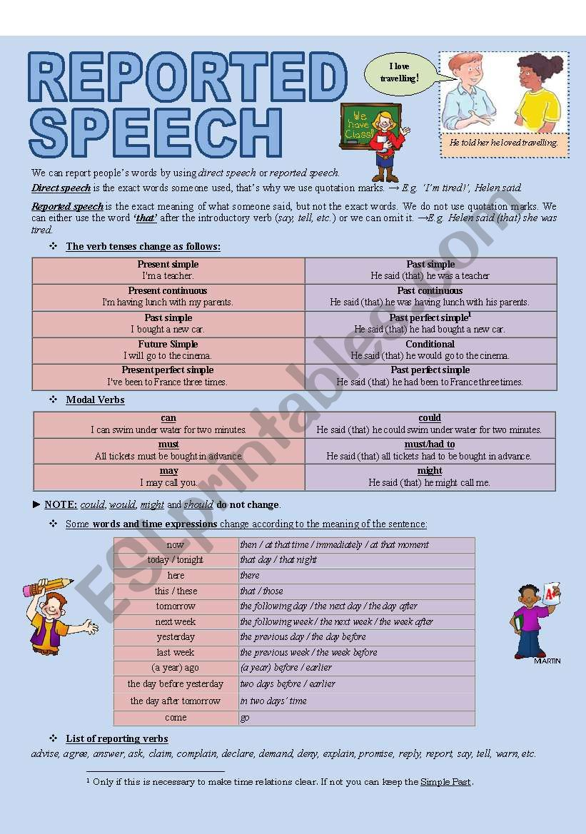 REPORTED SPEECH (3 pages) worksheet