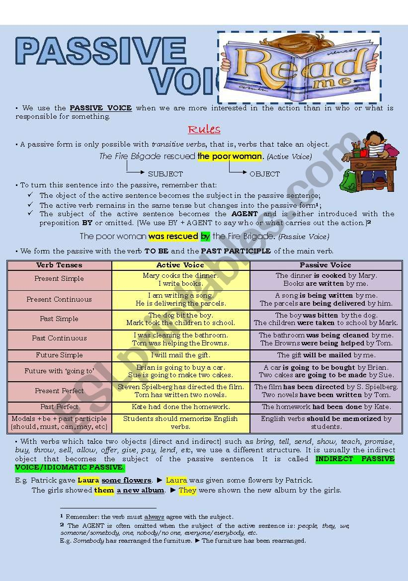 PASSIVE VOICE (2 pages) worksheet