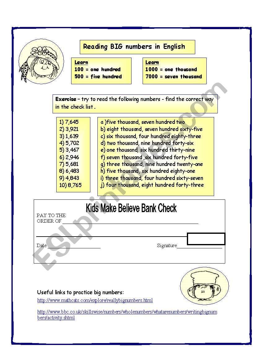 Reading big Numbers - ESL worksheet by ronit85